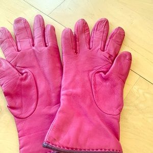 Hot pink Coach leather gloves